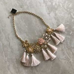 INC Gold Pink Floral Tassel Necklace NWT